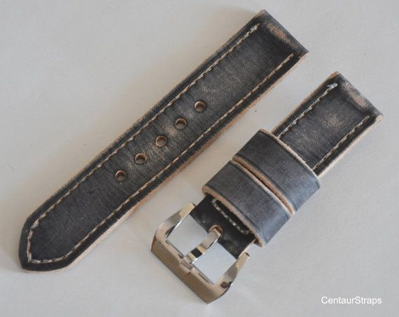 Black distressed handmade leather watch strap by CentaurStraps