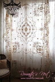 Hang a thrift store lace table cloth for a romantic boho chic curtain. Bohemian…