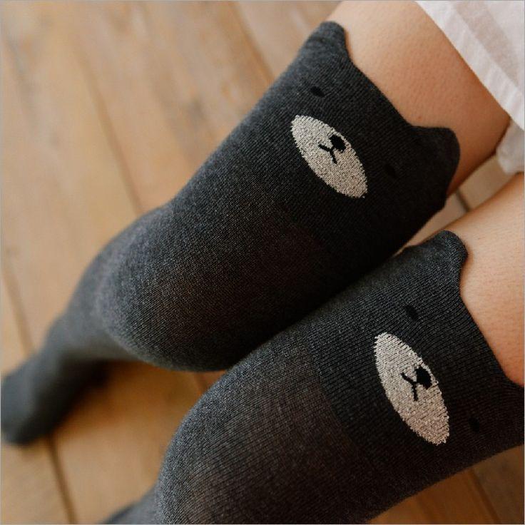 Algodão tridimensional urso dos desenhos animados de alta tubo meias Sexy corte senhora meias até o joelho em Meias de Nylon de Roupas e Acessórios Femininos no AliExpress.com | Alibaba Group