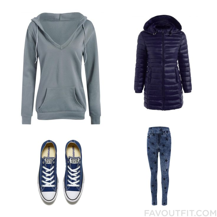 Outfit Trick With Hoodie Blue Quilted Coat Leggings And Black And White Trainer From November 2016 #outfit #look