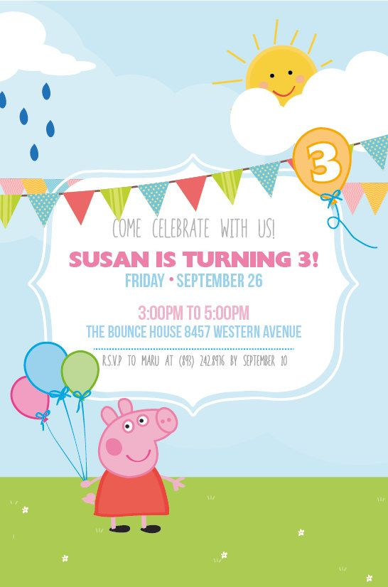 278 best peppa pig party images on pinterest | pig birthday, pig, Party invitations