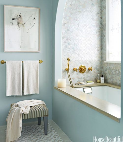 Get in. Stay. Tile in bathtub alcove.: Tubs, Bathroom Color, Plaster Wall, Decoration, Blue Wall, Wall Color, Arches, Bathroom Idea, Blue Bathroom
