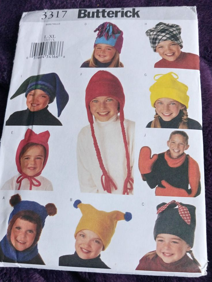 Butterick B3317 Fleece HATS & SCARF Boy/Girl multi-fit #Butterick