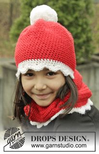 "DROPS Christmas: Crochet DROPS hat and neck warmer in ""Nepal"". ~ DROPS Design"