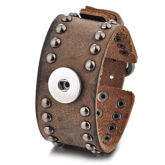 Brown Leather Metal Studded 1 Button Snap On Noosa Charm