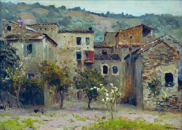 Isaac Levitan - In the Vicinity of Bordiguera, in the North of Italy, 1890, pastel on paper