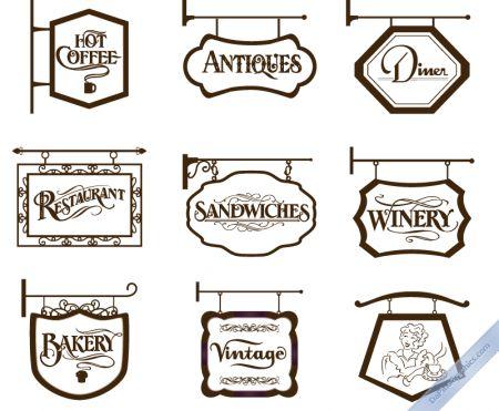 vintage store signs I1 450x371 おしゃれ!ヨーロピアンなアイアンサインの無料ベクターイラスト素材2set(AI・EPS・PDF・PNG)   Free Style