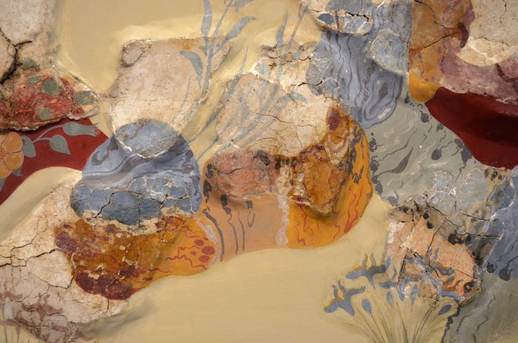 """Panel from a large landscape fresco that once decorated a spacious room of a house west of the palace of Knossos, named the """"House of the Frescoes"""" after the sequence of three surviving panels...."""