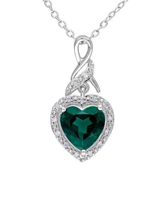 Simulated Emerald & Diamond Silver Ribbon Pendant Necklace