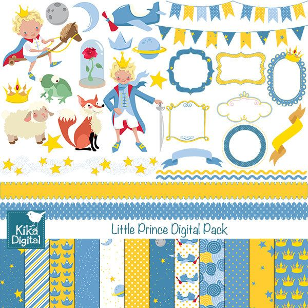 INSTANT DOWNLOAD Little Prince Digital Clipart and Paper Pack - Scrapbooking , card design, invitations, stickers, paper crafts, web design         December 23, 2013 at 04:27PM