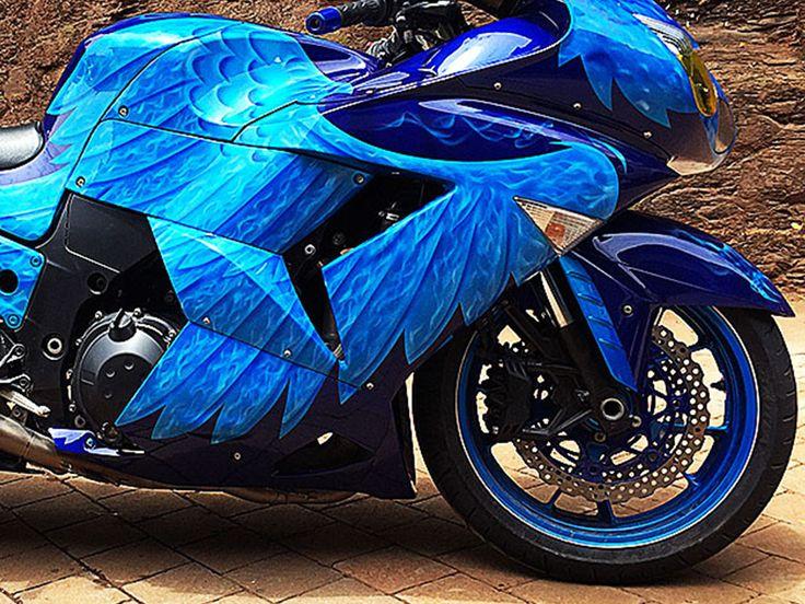 The Blue Raptor | Kawasaki Ninja ZX1400, airbrushed eagle feathers by PAZ.