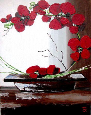 Peinture acrylique orchidée rouge dans un pot marron   Peintre des fleurs en acrylique, Peinture ...
