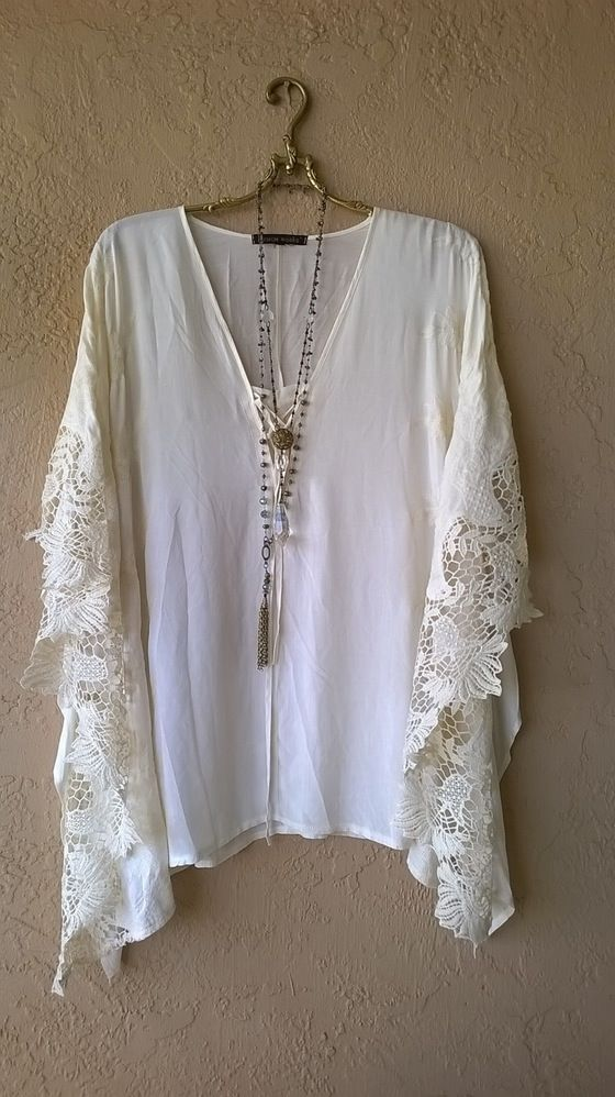 Image of   Free People Gypsy Kaftan with corset lace up and crochet butterfly sleeves