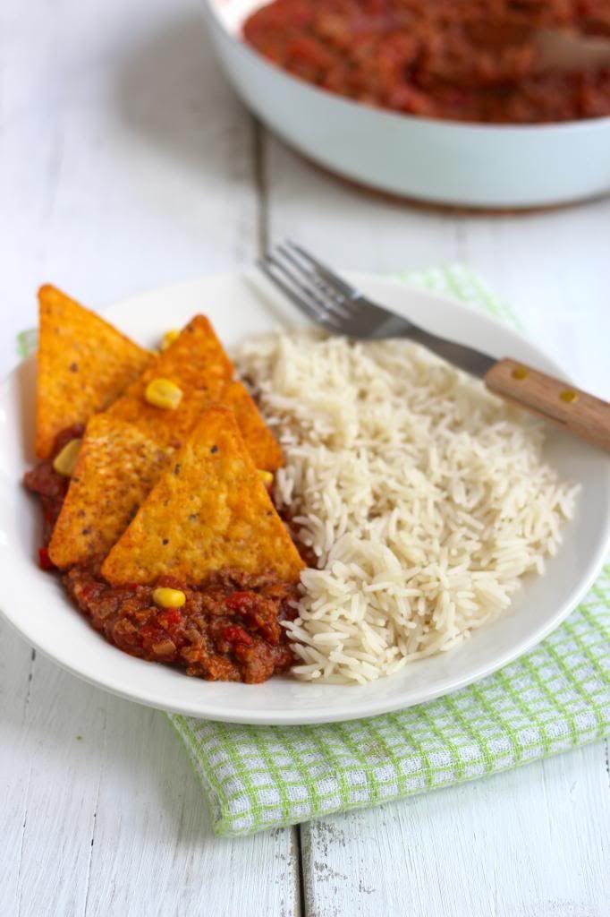 Rijstgerecht met gehakt en tortillachips - Lekker en Simpel