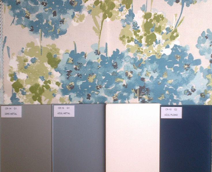 Azules y platas para el dormitorio el toque floral del - Dormitorio beige ...