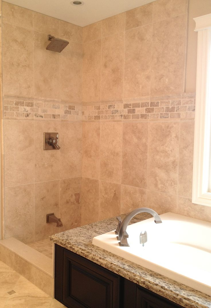 Kent bathroom vanities - Custom Shower With Mosaic Border And Bronze Plumbing Fixtures This Photo Was Taken Prior To