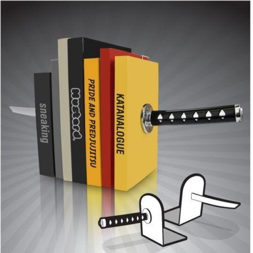 Katana-Buchstuetzen-Messer-Schwert-Ninja-magnetisch-Buchhalter-Metall-Buchstaender
