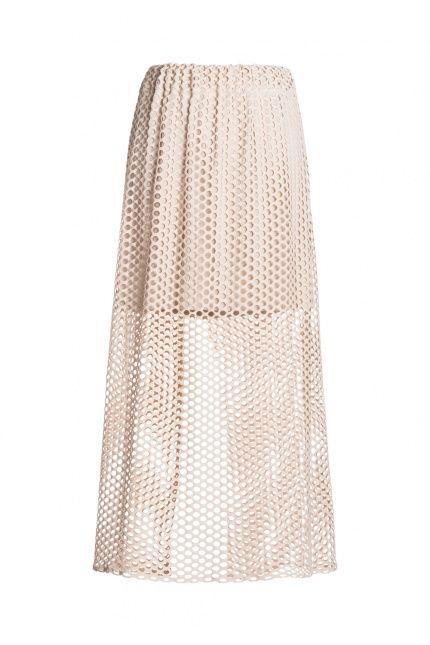 Moda w wersji maxi to świetna alternatywa na gorące dni. Co powiecie na spódnicę wykonaną z siatki? Dudzińska, 615 zł. #maxi #cotton #BoutiqueLaMode.com