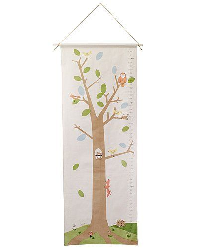 """Woodland Growth Chart . $55.00. Bring the wonder of the outdoors in with this wildly imaginative growth chart. Progress can be marked with leaf cutouts, embroidery, a fabric pen or any other means. Measurements in one-inch increments are printed along the side. Screen printed by hand with toxin-free dyes on 100% organic cotton. Handmade in India. Ready to hang and use. All packaging material (boxes and labels) is made from recycled materials. Charts fit a 24"""" standard rod an..."""