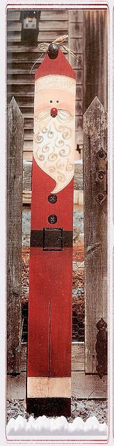 Fencepost Santa - this was originally made with a fence post but I am sure wood from a pallet could be used.