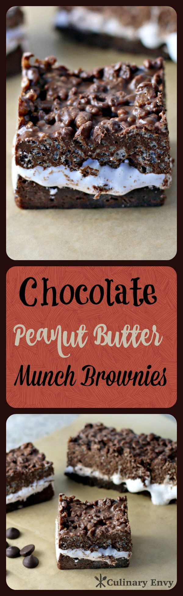 Chocolate Peanut Butter Munch Brownies are 3 easy layers of irresistible goodness. Sweet, crunchy and gratifying; a chocolate lovers dream!