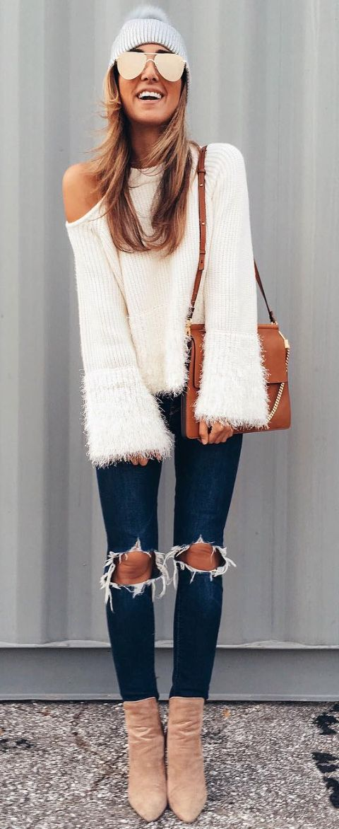 fringe cut out sweater _ dark-denimHoleiNTheKneeLovethepic from top to bottom perfect boots