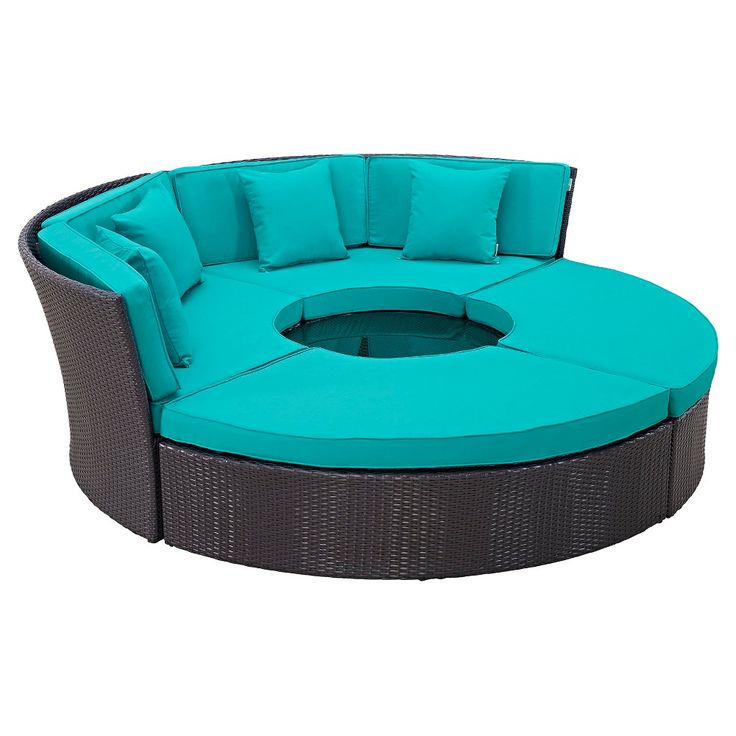 Convene Circular Outdoor Patio Daybed Set - Espresso/Turquoise - Modway, Green