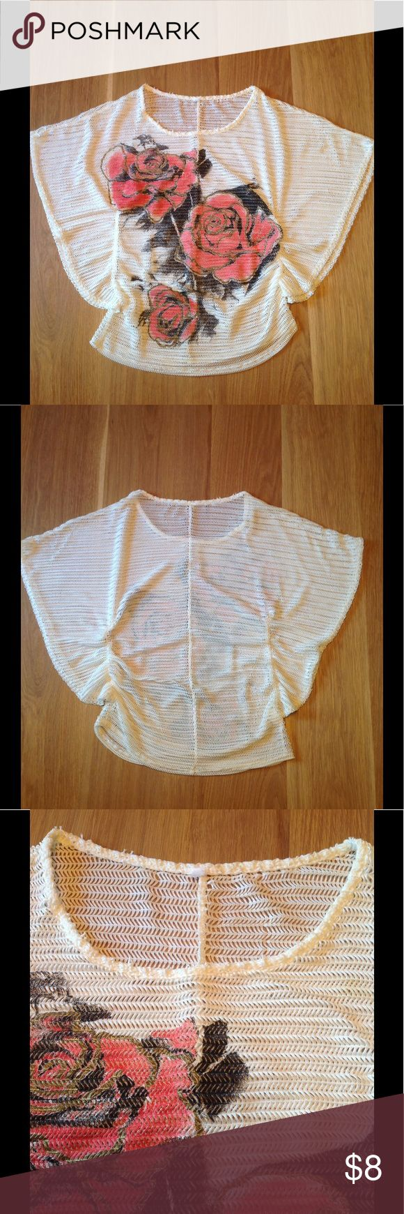 """Bell Sleeve Mesh Top Everything's coming up roses with this bell sleeve mesh top!  > Tags removed. A stretchy synthetic cloth, very durable.  > Fits a size small, but has a lot of give. See the Measurements below.  Approximate Measurements  (laying flat and unstretched) Shoulders: 19"""" Length: 24.5"""" Tops Blouses"""