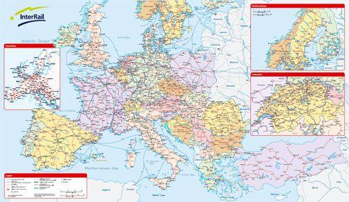 InterRail rail map of Europe 2012