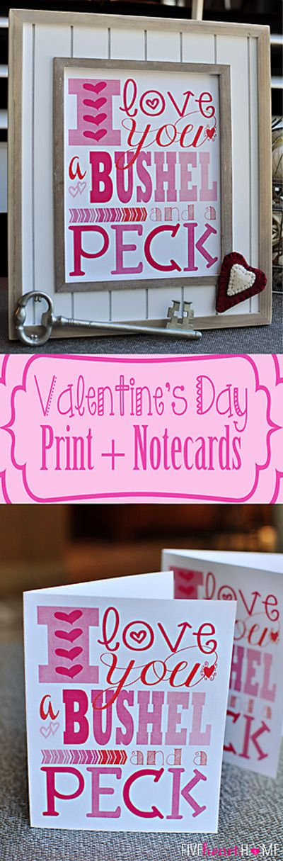 Free Printables For Valentine S Day I Love You A Bushel And Peck