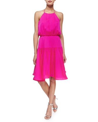 Halter Silk Crepe Sundress by Milly at Neiman Marcus.
