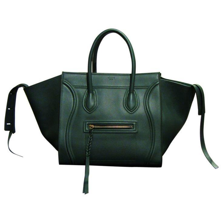 celine green leather handbag luggage