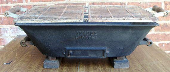 Vintage Hibachi Charcoal Grill Large Cast Iron Japan 1970s