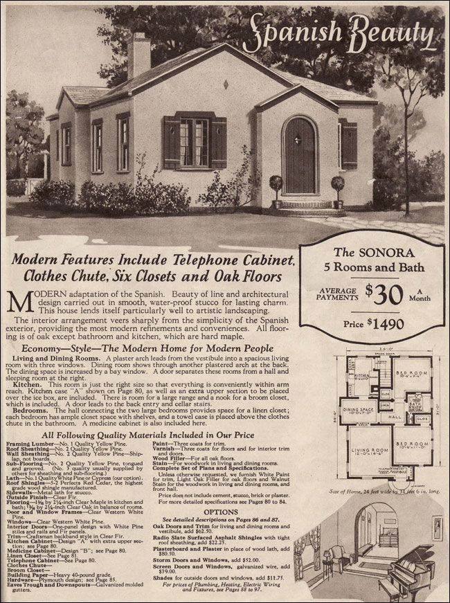 104 best images about mail order homes on pinterest for Spanish bungalow floor plans