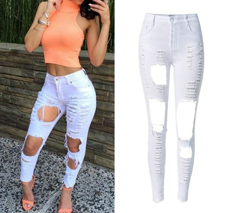 2017 High Waist Elastic White Skinny Women Jeans Fashion Hole American Apparel Ripped Jeans Femme Push Up Robek Pantalon Femme #Affiliate
