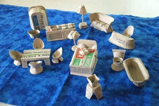 egg carton doll house furniture
