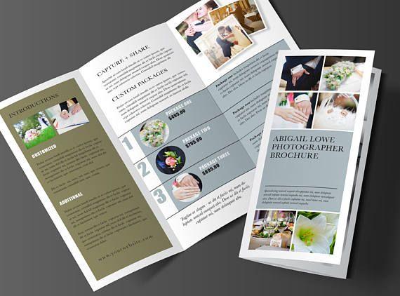 Driebladige Brochure ontwerp Rack Brochure sjabloon, Marketing Kit, fotografie Brochure, Marketing Brochure, 3 Panel Brochure, bruid, afdrukbare