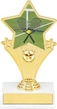 Tennis Super Star Trophy | Dinn Trophy New! Tennis super star trophy. Featuring 40 letters of free trophy personalization, this trophy is an unbeatable value ($0.10 per additional character)!