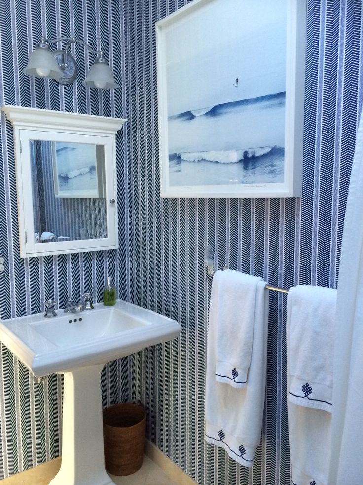 Classic navy bath with our herringbone wallpaper and gobi for Navy bathroom wallpaper