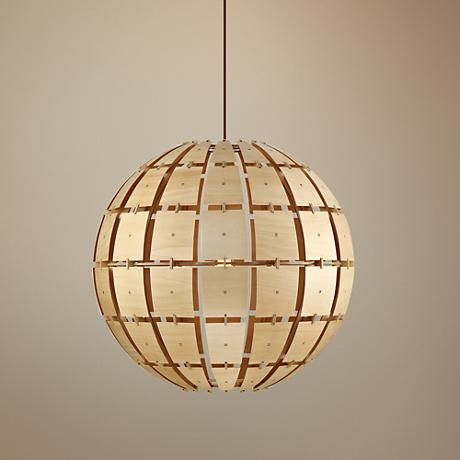 Accent Your All White Kitchen With Varaluzs Wooda Coulda Shoulda Large Contemporary Orb Pendant Light