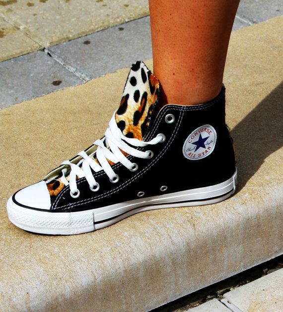 SALE Custom Converse Chuck Taylor All Stars With Faux Leopard Fur Any SIze/Any Color