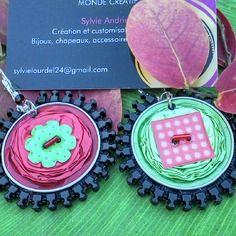 Boucles d oreilles capsule a cafe rouge et verte