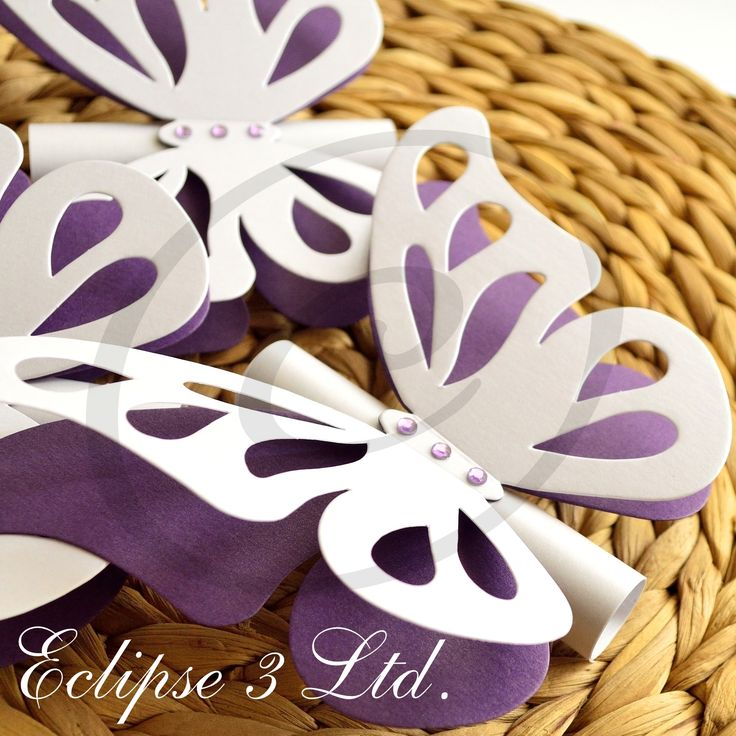 3D butterfly shaped wedding invitation in white and dark purple