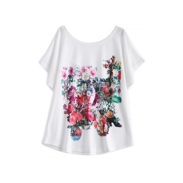 White Batwing Sleeve Floral Print T-Shirt ❤ liked on Polyvore featuring tops, t-shirts, floral tee, floral t shirt, floral print t shirt, white floral top and flower print tops