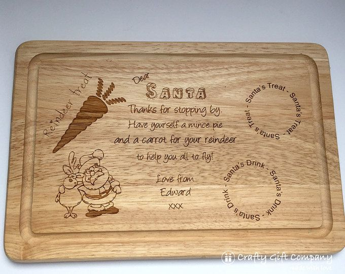 Personalised Wooden Santa Platter,  Father Christmas Platter, Treat Plate for Christmas Eve, santa plate