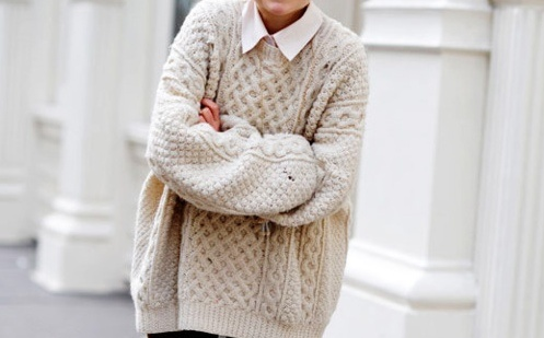 I really enjoy wearing sweaters this large with skinny pants and tall boots. Love this look!