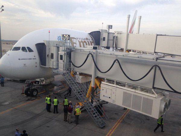 Emirates A380 at the gate at Houston Bush Intercontinental.