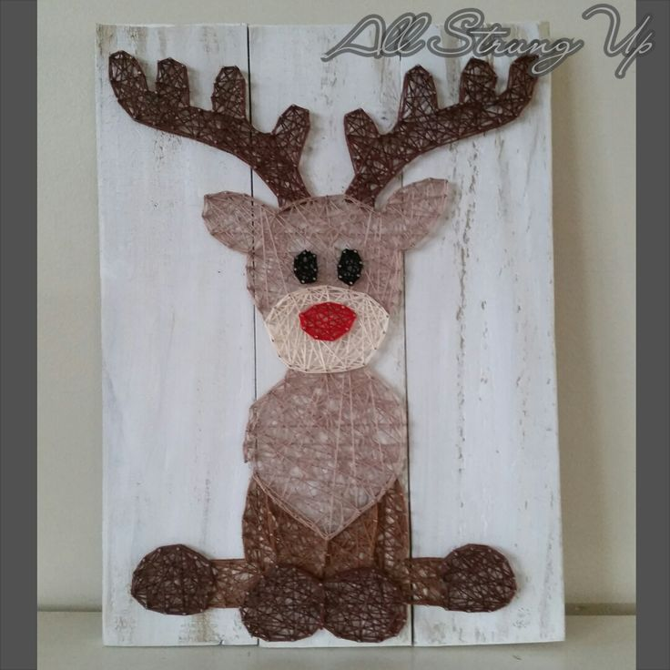 Thanks for looking. Rudolph reindeer christmas String Art, Made by hand with love in NSW, Australia. Find the rest of my pictures at the following places.  Find my website at www.allstrungup.com.au Find me on Instagram at https://www.instagram.com/all_strung_up/ Find me on Facebook at https://www.facebook.com/All-Strung-Up-915873695199667/?ref=hl