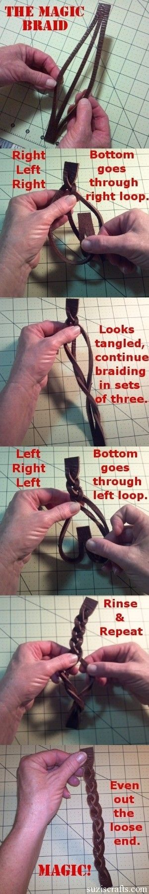 Create a braid/braided bracelet with a single piece of leather. - Click image to find more DIY amp; Crafts Pinterest pins