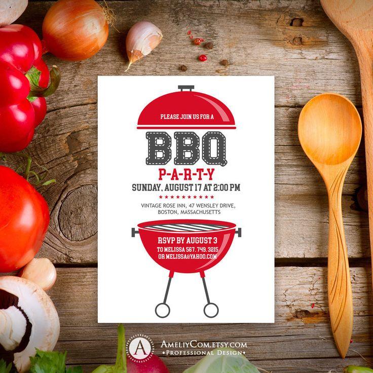 BBQ Invitation, Summer Party Invitation, Birthday BBQ Invitation, Independence invite, 4th Of July, Printable BBQ Party Invitation.
